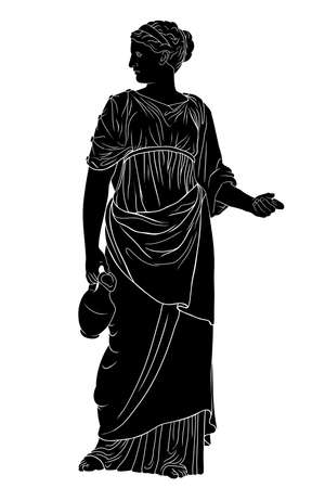 A young slender ancient Greek woman stands and holds a jug of wine isolated on white background.