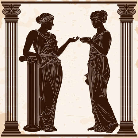 An ancient Greek young woman in a tunic with a jug in her hands serves a cup of wine to the lady. Two girls between the columns. 矢量图像