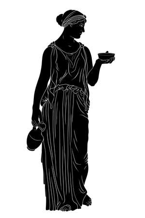 A young slender ancient Greek woman stands and holds a jug of wine and a bowl. 矢量图像