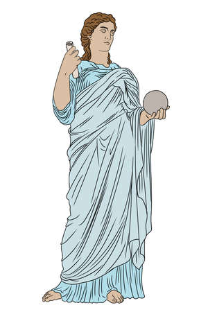 An ancient Greek young woman in a tunic and cape stands and holds a ball and a scroll in his hands. 矢量图像