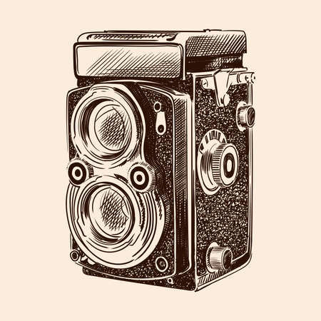 Old vintage camera with two lenses isolated on a beige background. 矢量图像