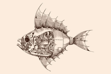 Fish with a metal body on mechanical control in steampunk style.
