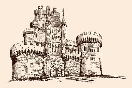 Medieval stone castle with towers on the plain. Ilustração