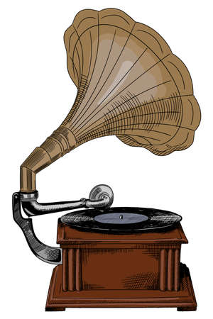 Antique vintage wooden gramophone with record and speaker.