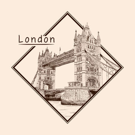 Tower Bridge in London across the River Thames. Pencil sketch on a beige background. Emblem in a rectangular frame and an inscription. 矢量图像