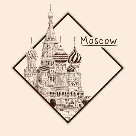 St. Basil's Cathedral on Red Square in Moscow. Russia. Pencil sketch on a beige background. Emblem in a rectangular frame and an inscription.
