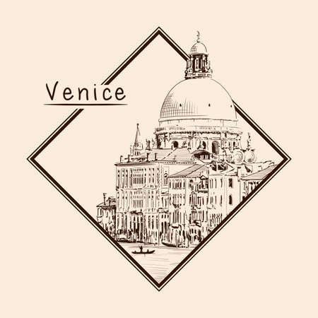 Sketch of the Cathedral of St. Mary in Venice isolated on beige background. Emblem in a rectangular frame and an inscription.