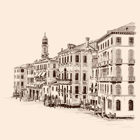 Sketch of street of an old European city with high-rise buildings and a tower. Handmade rough drawing on beige background.