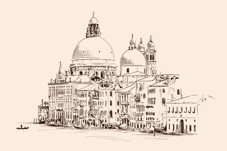 Sketch of the Cathedral of St. Mary in Venice isolated on beige background. 矢量图像