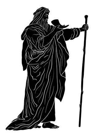 Ancient Greek old man in a cloak with a staff and a horn in his hands.