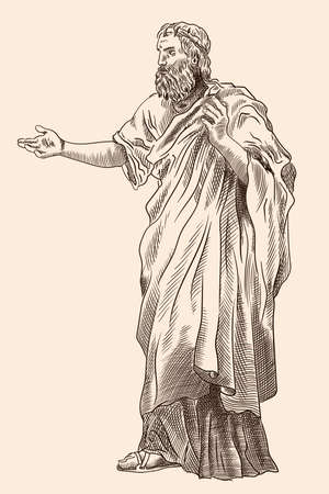 An old man with a beard in ancient Greek clothes stands and gestures. Imitation of antique engraving.