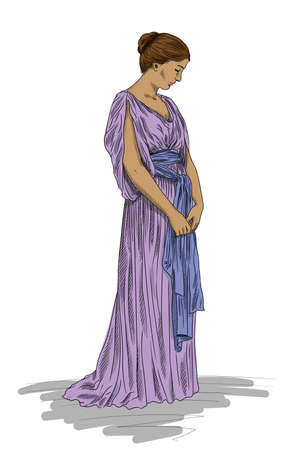 A young slender woman in an ancient Greek tunic stands with her head down. Figure isolated on a white background.