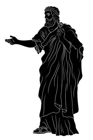 An old man with a beard in ancient Greek clothes stands and gestures. Black silhouette isolated on a white background.