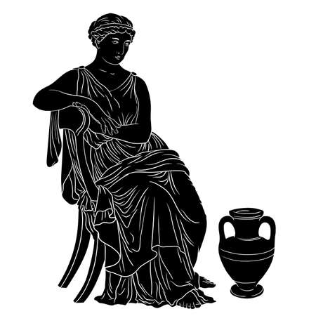 Ancient Greek Woman sits on a chair near a jug of wine. Black silhouette isolated on white background. 矢量图像