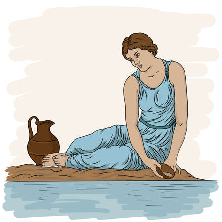 A young ancient Greek woman sits on the bank of the river with a bowl and collects water in a jug.