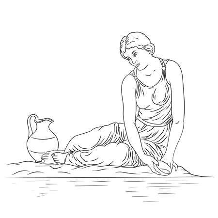 A young ancient Greek woman sits on the bank of the river with a bowl and collects water in a jug. Figure isolated on white background.