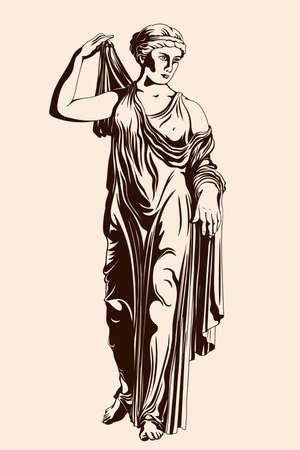 An ancient Greek woman stands and puts on a dress. Figure isolated on beige background.
