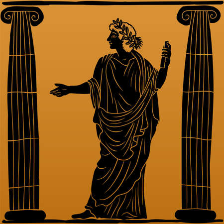 A young man in an ancient Greek tunic with a papyrus scroll in his hand stands between two columns reads a poem and gestures. Vettoriali