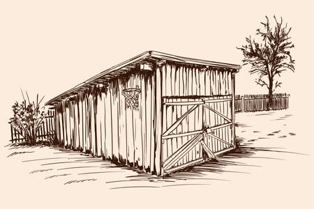 An old village cattle shed with closed doors. Hand sketch on a beige background.