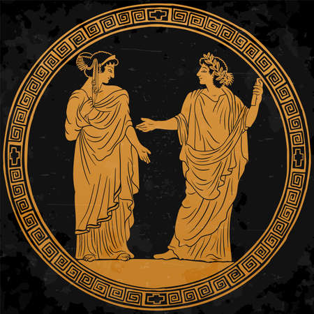 A young man in an ancient Greek tunic with a papyrus scroll in his hand stands reads a poem for a young woman and gestures. Vettoriali