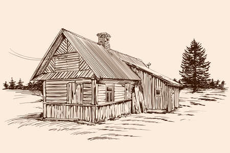 Hand sketch on a beige background. Old rustic wooden house in Russian style and spruce tree near building.