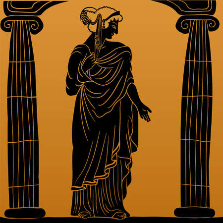An ancient Greek young woman in a tunic and cape stands between two columns looks away and gestures.