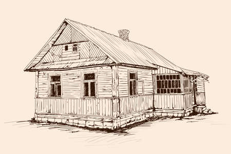 Hand sketch on a beige background. Old rustic wooden house on a stone foundation with a tiled roof.