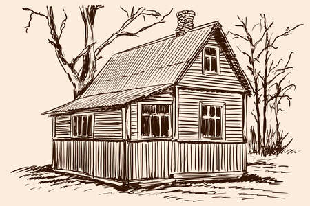 Hand sketch on a beige background. Old rustic wooden house and tree near building.