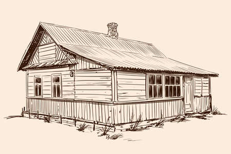 Hand sketch on a beige background. Old rustic wooden house in Russian style on a stone foundation with a tiled roof. Vettoriali