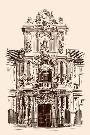 Hand sketch of a building facade in the classic Rococo style. Front entrance. Ilustração