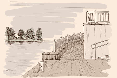 The landscape of the embankment for a tourist boat. Handmade sketch on beige background.