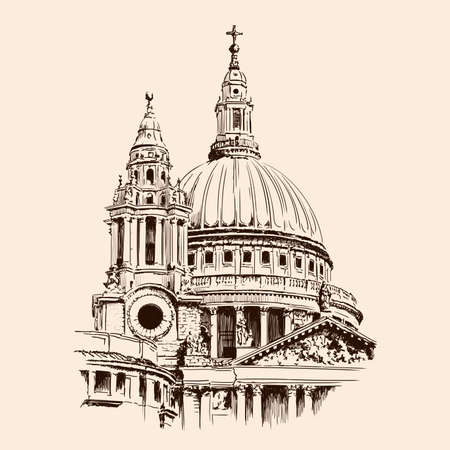 Dome of St Paul's Cathedral in London. Sketch on a beige background.