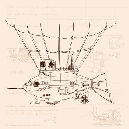 Airship in the shape of a fish with a metal body on mechanical control in steampunk style on the background of old crumpled paper with drawings, formulas and technical notes.