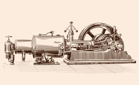 Sketch of an old steam engine with a boiler, a flywheel and a piston mechanism. Ilustração