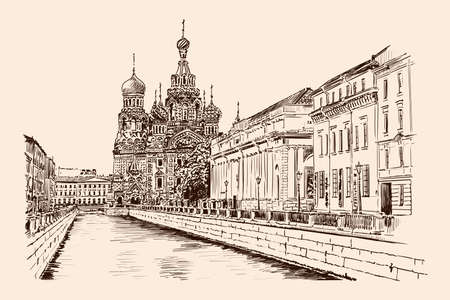 Embankment street of St. Petersburg with a view of the temple and buildings in the classical style. Handmade sketch on a beige background.