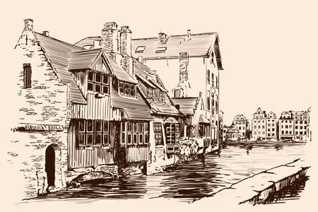 Landscape of a European city with old brick houses and a river channel. Handmade sketch on beige background. Vettoriali