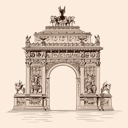 Triumphal Arch with statues in a classic Renaissance merge. Handmade sketch on a beige background.
