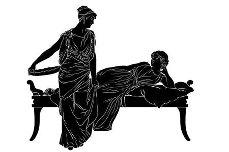 Two ancient Greek women in tunics chat in the bedroom. Figures isolated on white background. Vecteurs