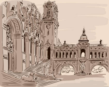 Hand sketch of a building facade in the classic Rococo style. Palace Square with arches and steps.