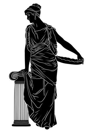 An ancient Greek young woman in a tunic and cape stands looks away and holding a dish in his hand. Figure isolated on white background. Archivio Fotografico - 165299376