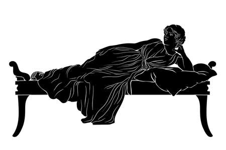 A young ancient Greek woman lies on the bed with pillow isolated on white background.