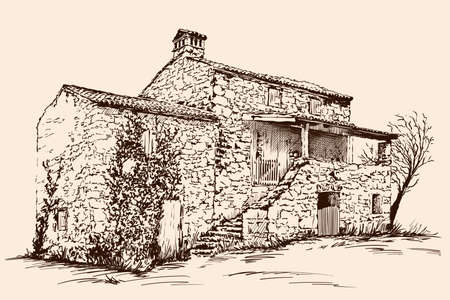 Old courtyard with stone house with a tiled roof. Hand sketch on a beige background.