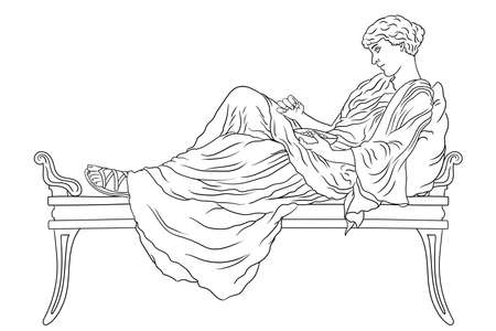A young ancient Greek woman lies on the bed with pillow and eat fruit from the bowl isolated on white background.