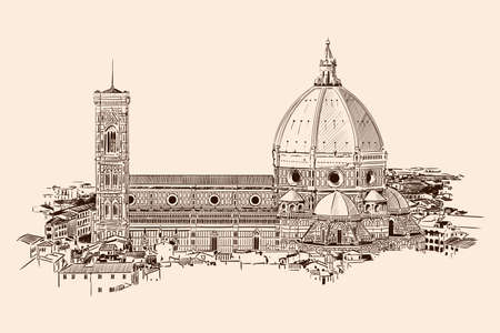 Cathedral of St. Mary in Florence. General view of the city. Sketch on a beige background.