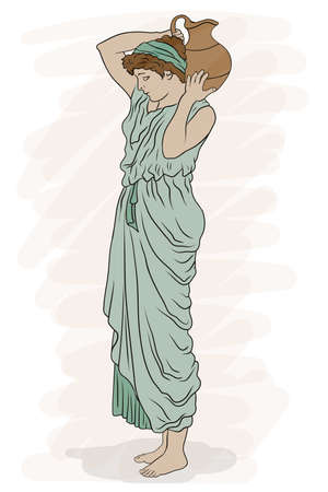 A young slender ancient Greek woman stands and holds a clay jug on her shoulder. Vettoriali