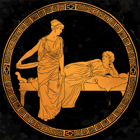 Two ancient Greek women in tunics chat in the bedroom. Figures isolated on white background.