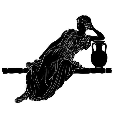 A young slender woman in an ancient Greek tunic sits on a stone parapet next to a jug of wine. Figure isolated on white background.