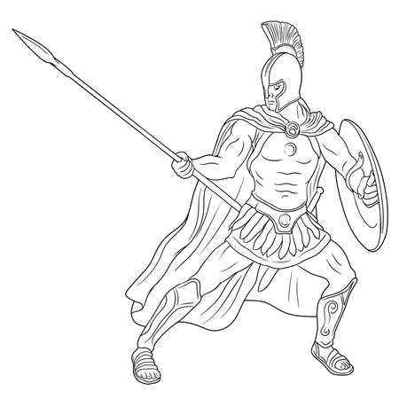 Ancient Roman warrior legionary with a spear and shield in his hands is standing ready to attack. Vector illustration isolated on white background.