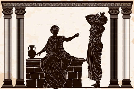 Two ancient Greek women in tunics with clay jugs are talking in a temple with columns.