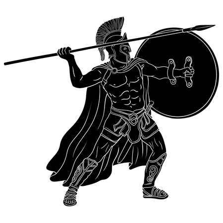 Ancient Greek warrior with a spear and shield in his hands is standing ready to attack. Vector illustration isolated on white background. Vettoriali